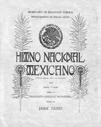 Portada de las partituras del Himno Nacional Mexicano
